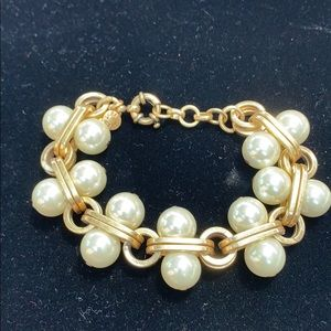 J.Crew pearl and gold tone chain bracelet.